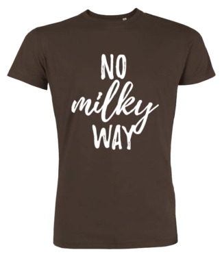 Vegan tshirt - No Milky way heren, chocolade